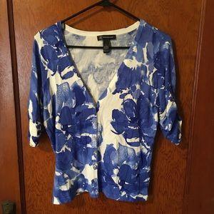 INC International Concepts blue floral cardigan